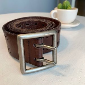 Brown Leather Double Pin Buckle Belt, size L